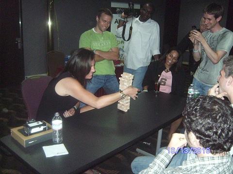 Lori Anne Wardi plays jenga